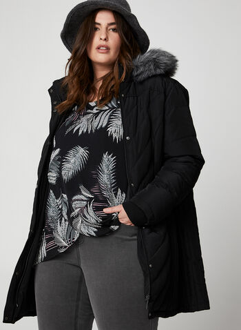 Faux Fur Down Coat, Black,  plus petities, coat, winter coat, faux fur, faux fur coat, removable hood, hooded coat, quilt coat, chevron quilt, long coat,