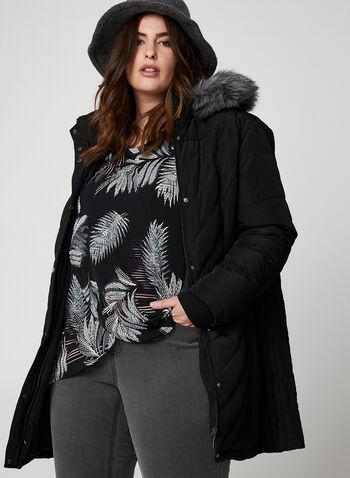 Manteau matelassé en duvet véritable, Noir,  petite plus, petites plus, plumes, capuchon, capuchon détachable, manteau lavable à la machine, manteau lavable, fausse fourrure, fourrure végane, automne hiver 2019