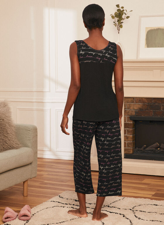 Tank & Capris Pyjama Set, Black