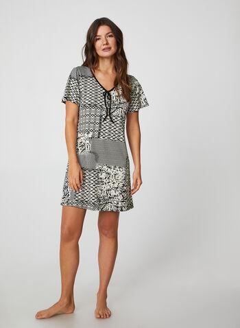 Hamilton - Geometric Print Nightgown, Black,  canada, nightgown, sleepwear, nightwear, geometric print, print, fall 2019, winter 2019