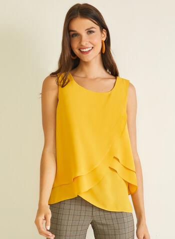 Tiered Sleeveless Blouse, Yellow,  blouse, sleeveless, scoop neck, layered, tiered, tulip, fall winter 2020