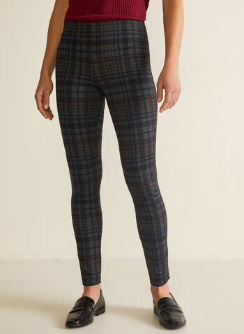 Meg & Margot - Tartan Print Pull-On Pants, Blue,  pants, slim leg, tartan, ponte di roma, fall winter 2020