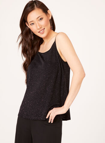 Sleeveless Metallic Top , Black, hi-res