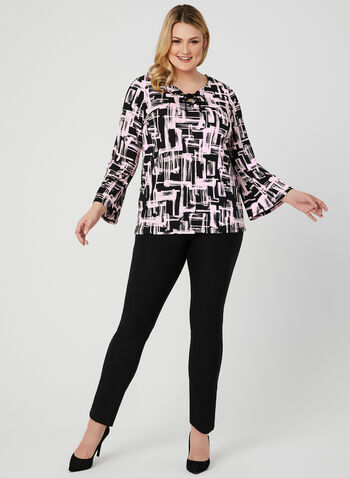 Bell Sleeve Jersey Top, Black, hi-res