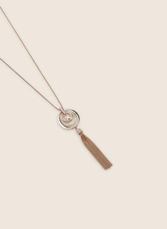 Pendant & Tassel Necklace, Off White