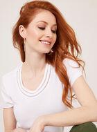 T-shirt à manches courtes avec détail crochet , Blanc, hi-res