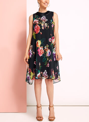 Floral Reverse Collar Trapeze Dress, , hi-res
