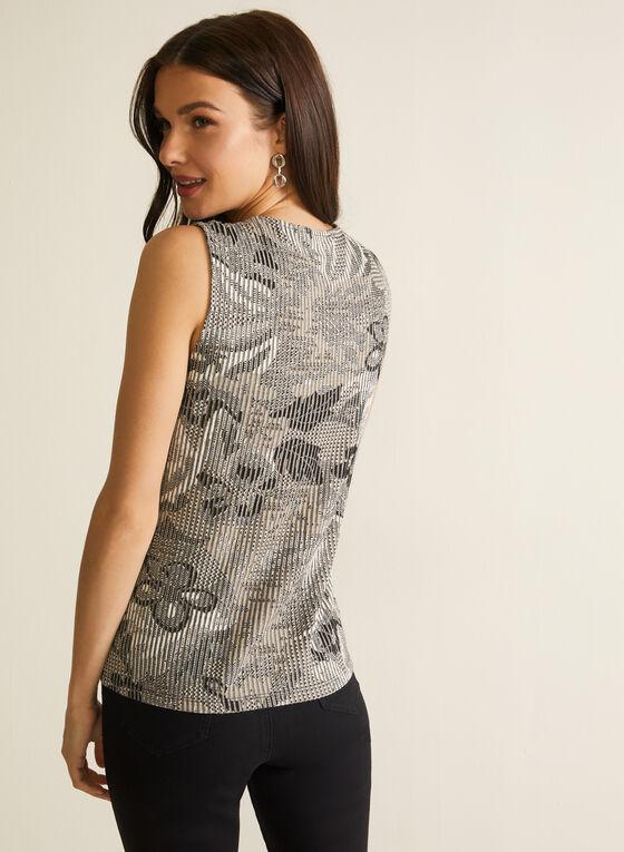 Rib-Knit Printed Top, Black