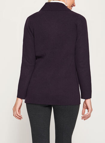 Drape Front Knit Cardigan, Purple, hi-res