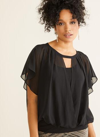 Blouse en mousseline effet cache-cœur, Noir,  blouse, mousseline, manches courtes, automne hiver 2019