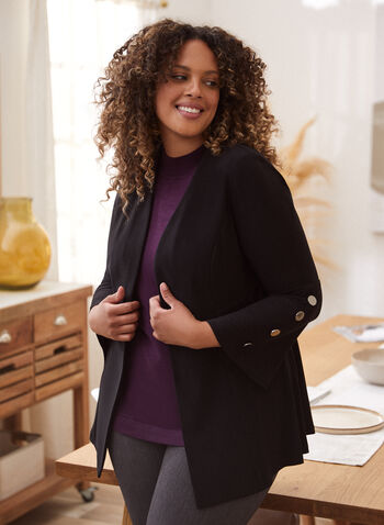 Structured Top With Button Details, Black,  fall winter 2020, made in Canada, long flared sleeves, open, oversized buttons, vegan leather, holiday