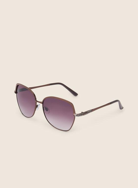 Metal Square Sunglasses, Brown