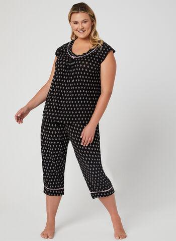 René Rofé - Abstract Print Pyjama Set, Black, hi-res,  bows, short sleeves, spring 2019