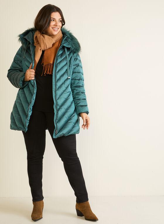 Iridescent Faux Fur Coat, Green