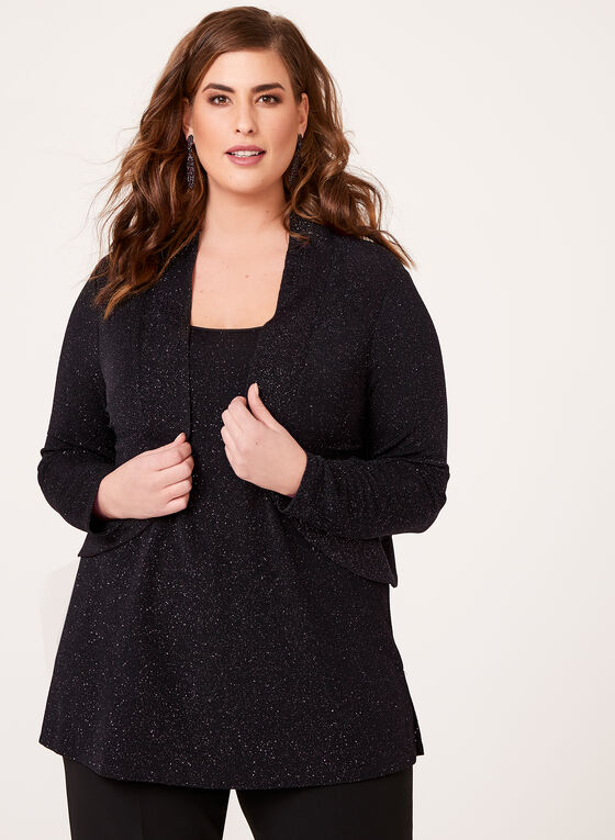 Long Sleeve Metallic Cardigan, Black, hi-res