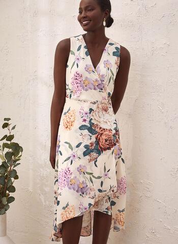 Asymmetric Floral Print Dress, White,  Spring summer 2021, dresses, v neck, wrap, no sleeves, asymmetrical, flowers, flowery,