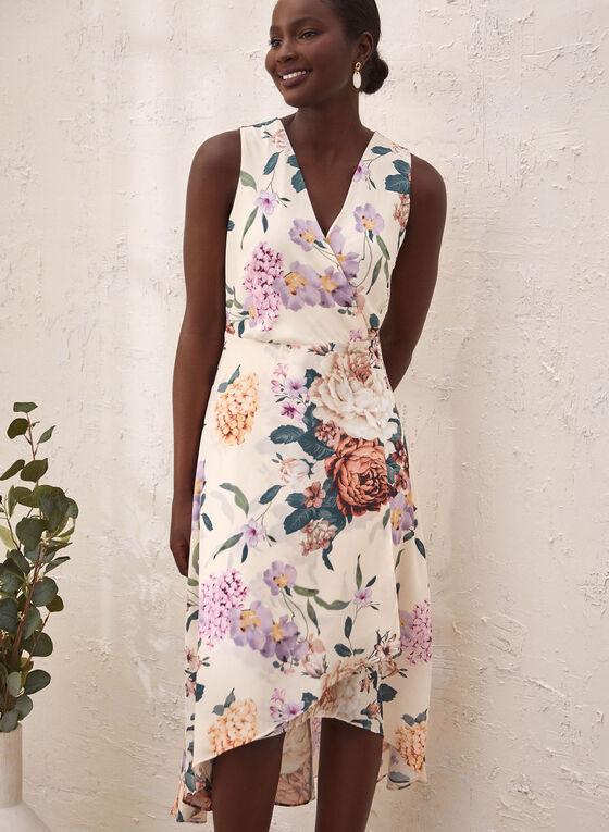 Asymmetric Floral Print Dress, White