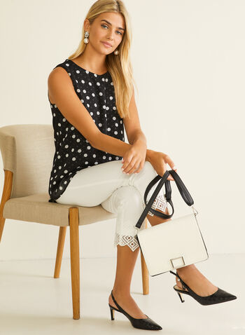 Polka Dot Print Sleeveless Top, Black,  top, sleeveless, chiffon, polka dot, high low, tulip, spring summer 2020