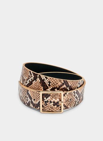 Reversible Snake Print Belt, Brown, hi-res
