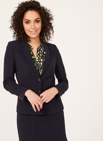 Two Button Blazer, Blue, hi-res