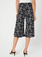 Palm Print Pull-On Culotte, Black, hi-res