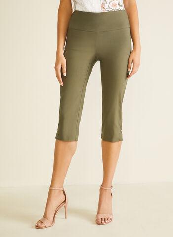 Slit Detail Pull-On Capris, Green,  capris, pull-on, slim leg, bengaline, slits, spring summer 2020