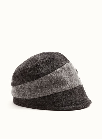 Flower Detail Wool Cloche Hat , Grey, hi-res