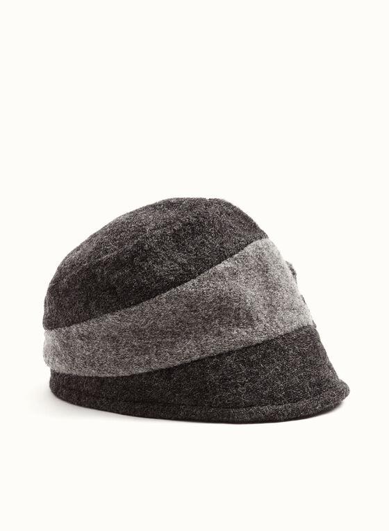 Chapeau cloche en laine et fleur cousue, Gris, hi-res
