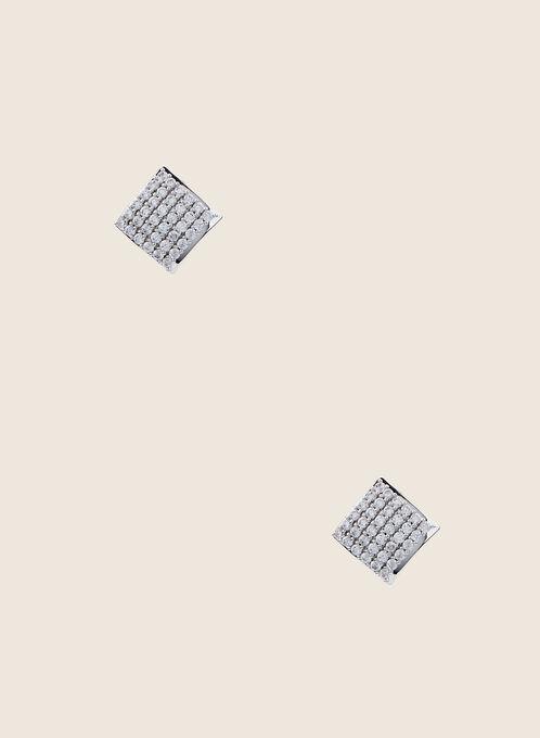 Clous d'oreilles diamants à cristaux, Argent