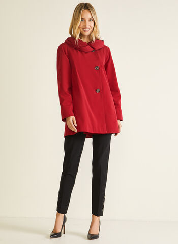 Hooded Button Front Coat, Red,  coat, button, hood, asymmetric, fall winter 2020