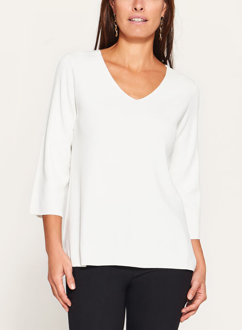 3/4 Flare Sleeve Knit Sweater, Off White, hi-res