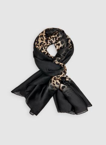 Foulard oblong motif animalier, Noir, hi-res,  foulard, oblong, animalier, bordure, automne hiver 2019