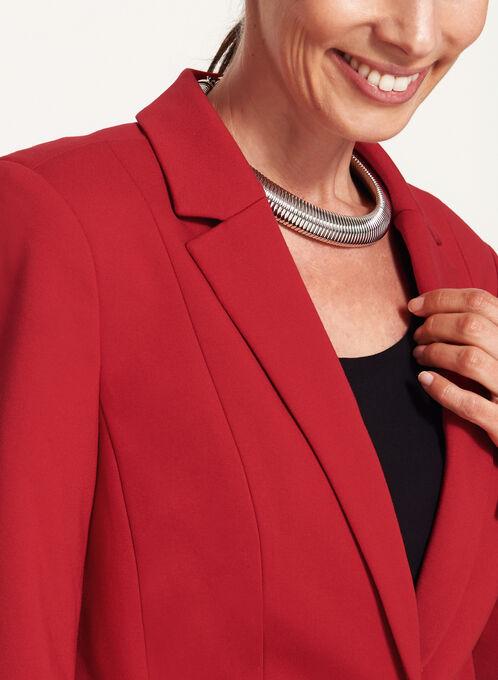 One-Button Pique Ponte Blazer, Red, hi-res