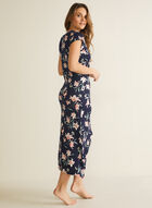 Floral Print Cap Sleeve Nightgown, Blue