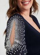 Joseph Ribkoff - Embellished Angel Sleeve Dress, Blue, hi-res