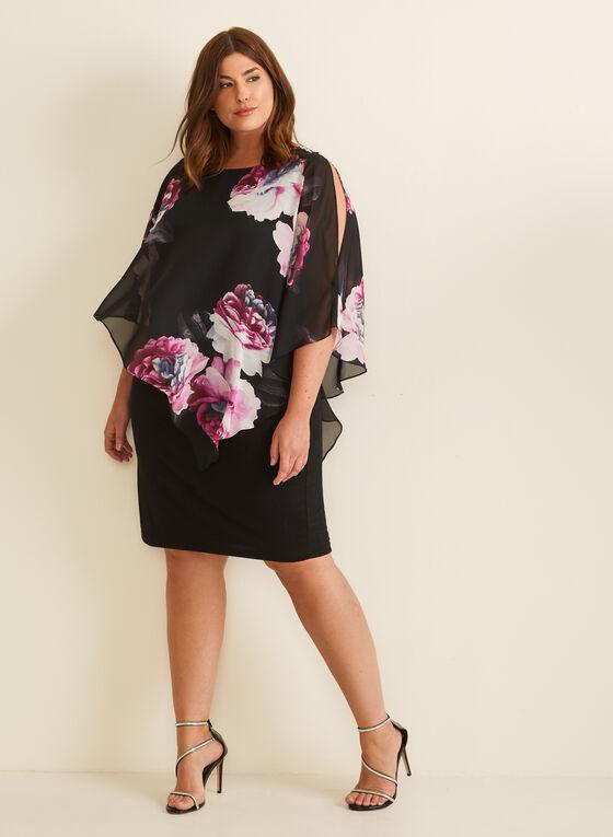 Floral Print Chiffon Poncho Dress, Black