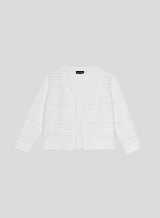 Nina Leonard - Boléro en tricot ottoman, Blanc