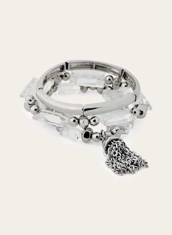 Stretch Bracelet Trio, Silver, hi-res