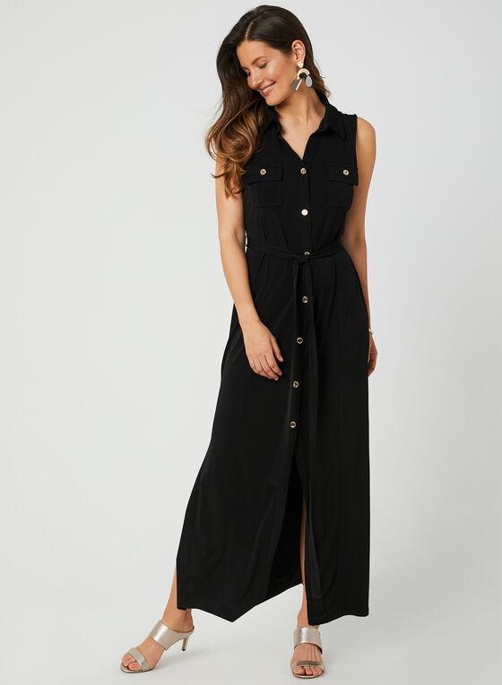 Sleeveless Shirt Dress, Black, hi-res