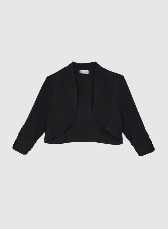 Shirred Sleeve Bolero, Black, hi-res
