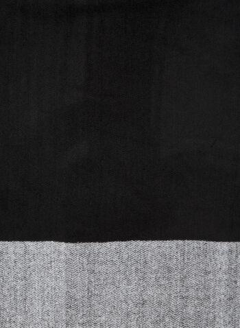 Foulard à motifs chevrons deux tons , Noir,  foulard, écharpe, deux tons, motif, chevron, franges, automne hiver 2020