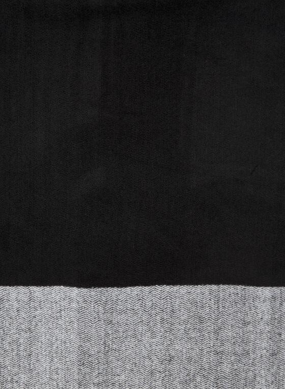 2-Tone Herringbone Motif Scarf, Black