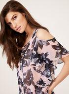 Floral Print Chiffon Cold Shoulder Blouse, Multi, hi-res