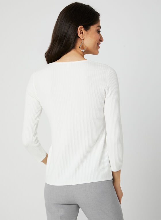 Scoop Neck Ribbed Knit Sweater, Off White, hi-res