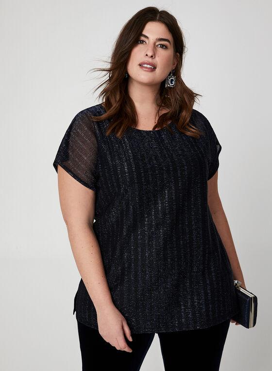 Short Sleeve Metallic Top, Black