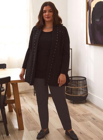Tunique asymétrique en mousseline, Noir,  tunique, blouse, haut, asymétrique, encoloure ronde, col rond, manches courtes, mousseline, fait au Canada, automne 2021