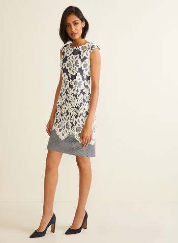 Textured Floral Print Dress, Blue,  spring summer 2020, scuba, sheath, sleeveless, floral print