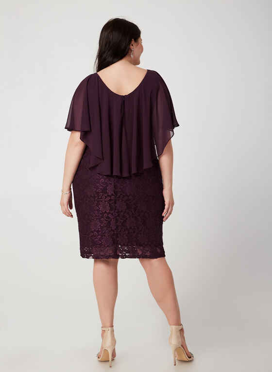Lace Poncho Dress, Purple, hi-res