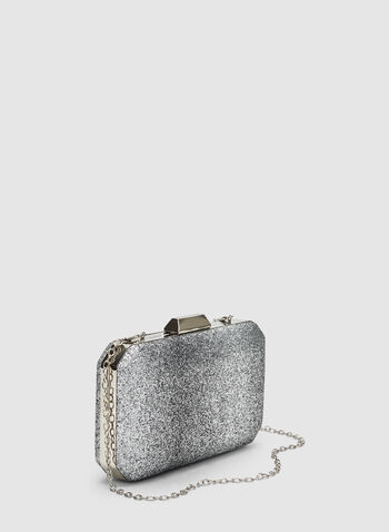 Glitter Box Clutch, Silver, hi-res,  Spring 2019, evening