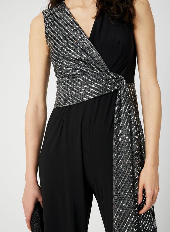 Sequin Embellished Jersey Jumpsuit, Black